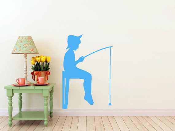 Boy Fishing on a Dock, vinyl Wall DECAL- lake interior design, sticker art, room, home and business decor