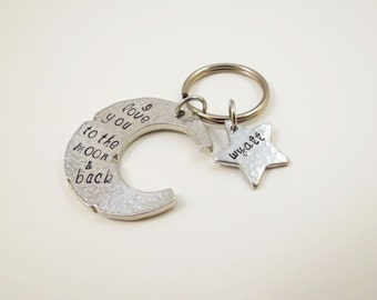 Personalized Moon and Star Keychain - Custom Key Chain - Womens - Grandma - Mom - Friends - Kids Names - Wife - Engraved - Hand Stamped