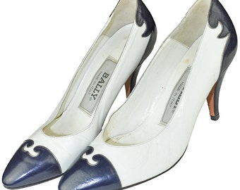 Bally Navy and White Scroll Heels Size 4 M Women's Vintage Shoes