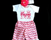 Personalized Baby Girl Clothes Newborn Girl Take Home Outfit Chevron Baby Girl Ruffle Bottom Pants Headband Baby Girl Clothing