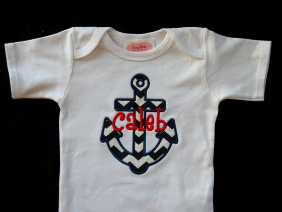 Nautical Anchor Baby Monogrammed Baby Boy Clothes by