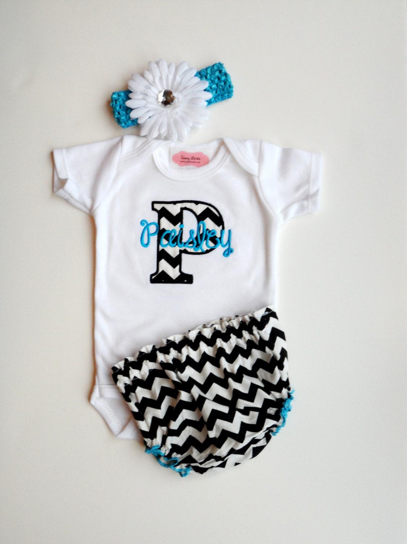 Chevron personalized baby girl clothes newborn take home
