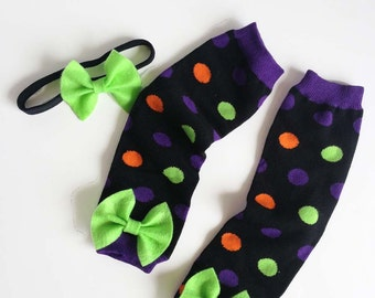 Halloween Baby Leg Warmers and Headband polka dots with bows orange, purple, lime green and black