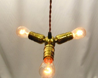 Industrial Chandelier Pendant 3 Brass Light Fixture Custom Made NYC