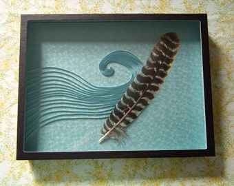 Feather in the Wind in Blue, Fine Paper Art, Mixed Media Feather and Quilling Art, Wall Art, One of a kind, 16 in. x 12 in. x 2 in.