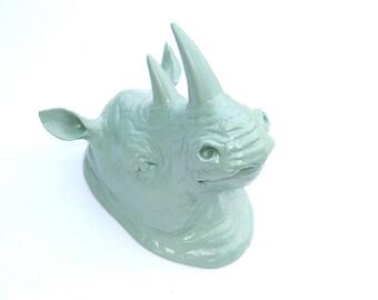 Sage Green Rhino Head Wall Mount - Rhinoceros Faux Taxidermy RH49