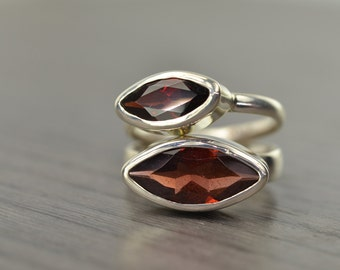 Garnet Stack Ring, size 5, silver marquise 2ct 4ct stacking ring, January Birthstone - Navette Ring