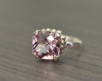 Blush Pink Topaz Ring, size 7.25, 5ct silver cushion prong solitaire - Darcy Ring