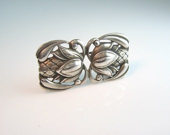 Nordic Style Brooch. Sterling Silver Flower Bud. Signed Viking Craft. 1940s Vintage Modernist Jewelry. Art Nouveau Style