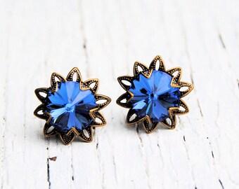 Sapphire Flower Earrings Swarovski Crystal Cobalt Blue Vintage Saffron Sparklers Filigree Dangle Earrings