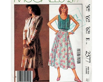 HALF PRICE 1980s Laura Ashley Pattern Jacket, Camisole Top and Skirt McCall's 2377 Vintage Sewing Pattern Bust 34