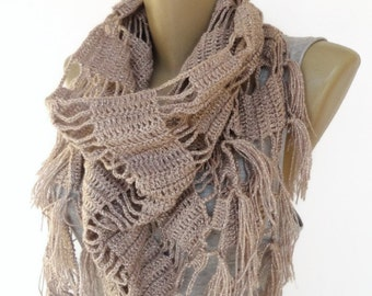 Taupe Crochet Shawl // Crochet Scarf // Winter Scarf // Gifts For Her // Womens Clothing // Shawl Wrap // Shawl Scarf /// senoaccessory