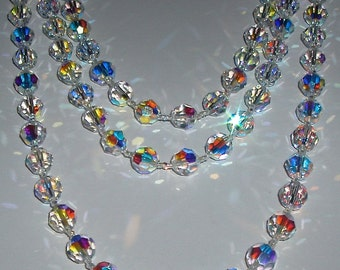 SALE - Long AB Swarovski Clear Crystal Necklace