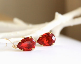Ruby Red Swarovski Earrings with Pear Shaped Red Crystals - Gift for Her
