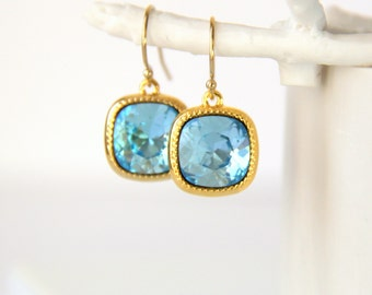 Aquamarine Earrings with Swarovski Crystals - March Birthstone - Birthstone Jewelry