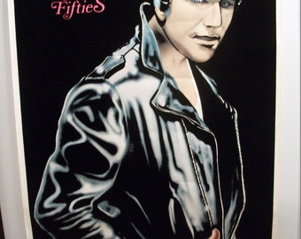 "FREE Shipping John Travolta as the Fonz 1976  ""The Nifty Fifties"" Original Black Light Vintage Poster"