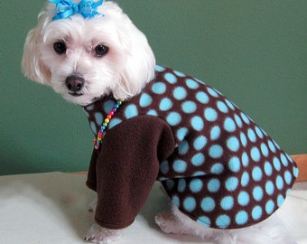 2 Leg Dog Sweater, Chocolate with Teal Dots