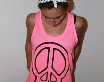 Skull peace sign neon pink tank top. RIPEACE