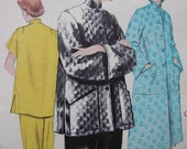 Fabulous Vintage 50's Misses' PAJAMAS AND ROBE Pattern Factory Folded