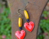Colorful heart earrings bright tribal valentine