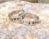 Matching Sterling Silver Star Wars Quote Rings Valentine/Wedding Band Set
