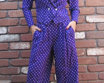 Amazing Co-Ord Vintage Two Piece Purple Polka dot Suit Small
