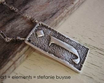"Handmade ""Poetic"" Initial Pendant Necklace - lowercase letters  f, i, j, l - Sterling Silver - OOAK"