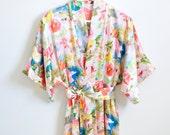 Ready to ship - Samantha Silk bridal robe getting ready kimono in floral watercolor