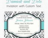 Bridal Shower Invitation, Birthday Party Invite, Black and White Damask and Dots, Robin's Egg Blue Accent, Aqua  -- DIY Printable File