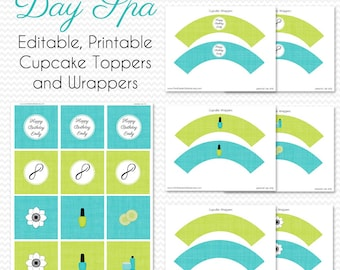 Spa Party Theme Cupcake Toppers, Cupcake Wrappers, Birthday Party Decorations, Bridal Shower Decor -- Editable, Printable, Instant Download
