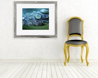 rain photograph water drops fine art photo wall decor blue green abstract winter cold macro