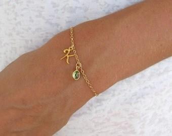 Gold Initial & Birthstone Charm Bracelet - Personalized Jewelry - Monogram Jewelry