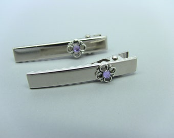 Silver Flower & Lilac/Lavender Alligator Hair Clips
