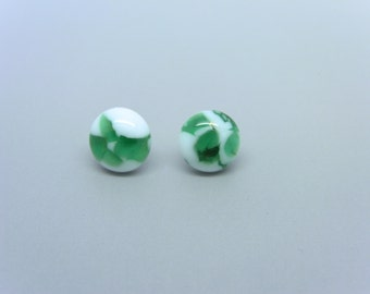 Round Sterling White & Green Marbled Fused Glass Post Earrings