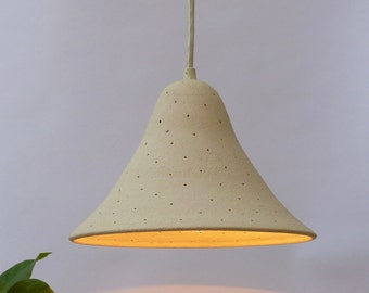 Perforated Stoneware Bell, Hanging lamp