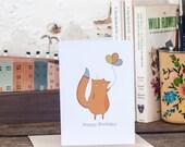 Fox Happy Birthday card, balloon, best friend birthday card - Free Postage