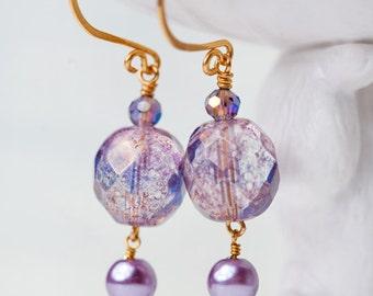 Chunky Lavender Earrings, Gold, Lavender Earrings, Chunky Earrings, Purple Gold Earrings, Lavender Gold Earrings, Lavender Jewelry