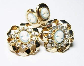 Vintage Cameo Pins and Earrings Set in Light Blue with Rhinestones