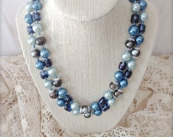 Vintage Blue Pearl and Lucite Bead Double Strand Necklace - Vintage Jewelry - Pearl Jewelry - Costume Jewelry - Gifts