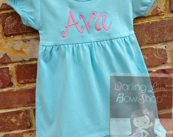 Aqua Ruffle Dress for Spring and Easter -- sweet dress with name and optional birdie or bunny applique