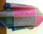 Vintage  JP Collection Challis Scarf Wrap Made in Italy 45 x 46 square Blue Pink Brown Green Leaves Stripes