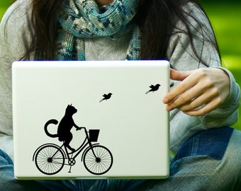 Cat on Bike Decal Laptop Decal iPad