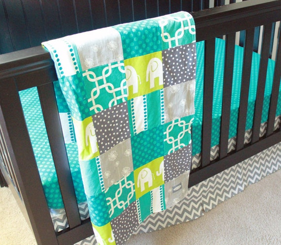 custom crib bedding turquoise grey and lime green 2. Black Bedroom Furniture Sets. Home Design Ideas