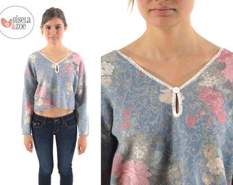 80s Crop Top / Vintage Floral Knit Top / Pretty In Pink Top /