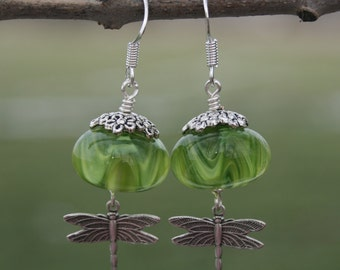Dragonfly earrings green,Glass lampwork bead earrings, silver earrings , handmade jewelry , artisan lampwork earrings , beaded earrings