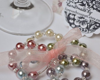 Bridesmaids Gift Idea - Pastel Pearl Wine Charms