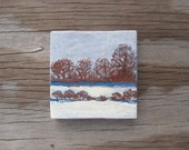 "Snowy Winter Landscape - Original Acrylic Painting on a 3"" x 3"" Miniature Canvas"