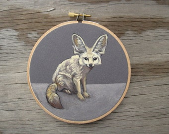 Fennec Fox - Embroidery Hoop Art - Made to Order
