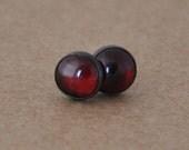 Garnet Earrings with Sterling Silver Studs. 6mm Garnet gemstones with silver settings