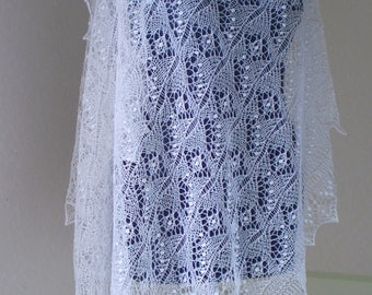 Hand knitted wedding shawl, traditional Estonian lace stole, Haapsalu  shawl, heirloom,  soft cobweb merino MADE TO ORDER